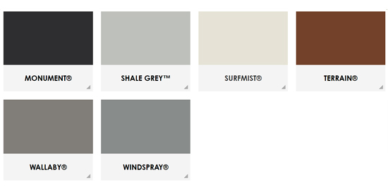 Colorbond Contemporary Color Range for Steelcorp