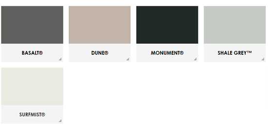 Colorbond Steel Color Range for Steelcorp